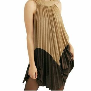 FREE PEOPLE Pleated Love Metallic Gold Mini Dress